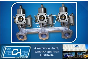 Triple SU HS6 Carburettor Conversion Kit Holden 6 Red Motor (Reconditioned Carbs)