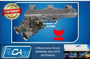 Single 45 DCOE GENUINE WEBER Carburetor Kit suit Holden Red 6 Log style Manifold Reco.