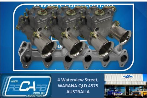 Ford 250 X-flow Alloy Head GENUINE Triple WEBER 45 DCOE Carburettor Set