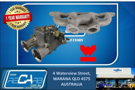 Single 45 DCOE GENUINE WEBER Carburetor Kit suit Ford Cortina 1600 Cross Flow Reco. Manifold