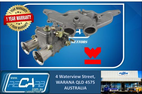 Single 45 DCOE GENUINE WEBER Carburetor Kit suit Ford Cortina Escort 2L Pinto Reco. Manifold